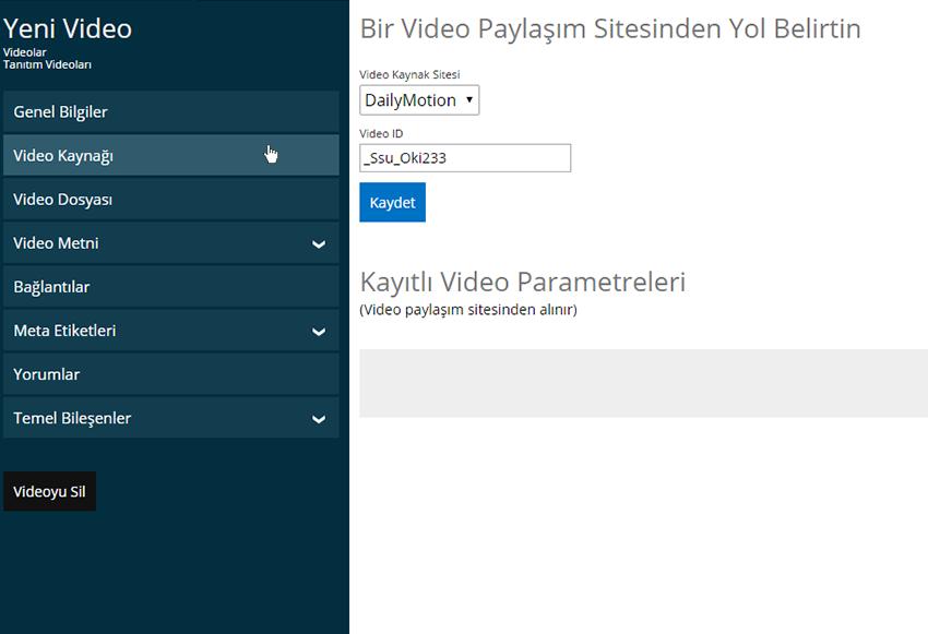 Dailymotion Video ekleme