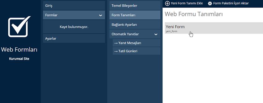 Web Formları Tanımları