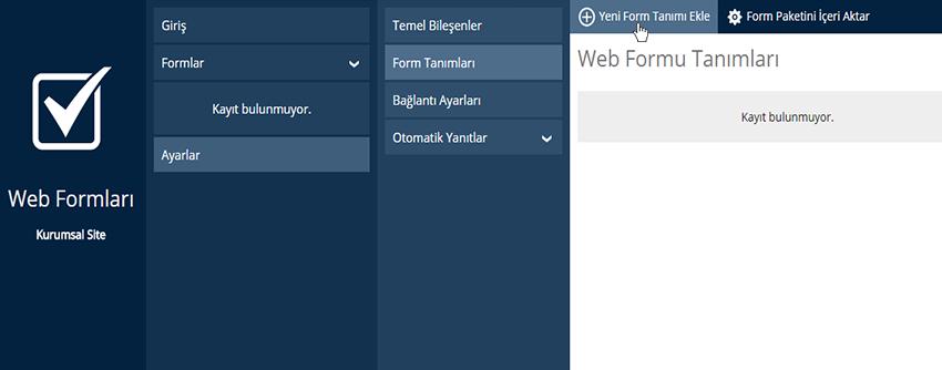 Web Formları, Yeni Form Tanımlama