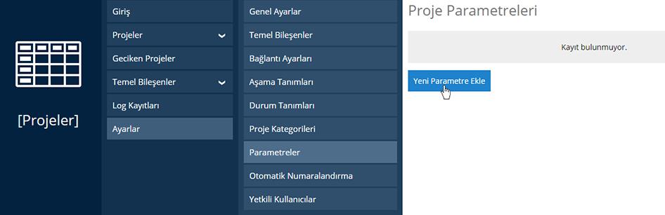Projeler Yeni Parametre Ekleme