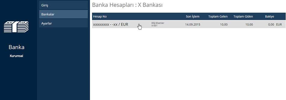 Banka İşlem Ekleme Hesap Seçimi