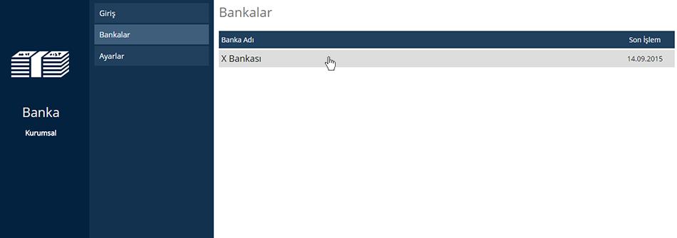 Banka İşlem Ekleme Banka Seçimi