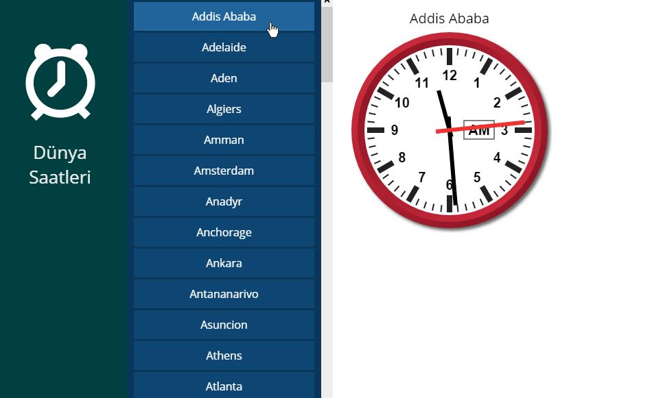 Dünya Saatlerini Listeleme