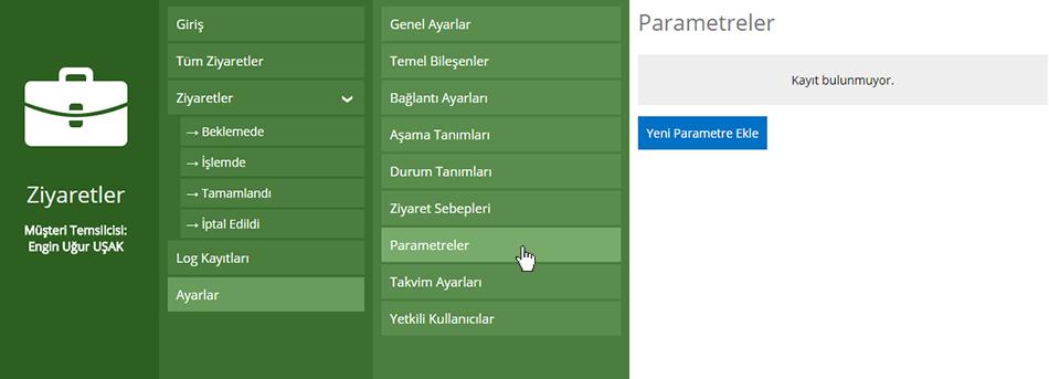 Ziyaretler Parametre Ekleme