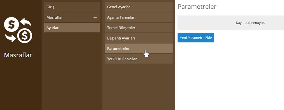 Masraflar Parametre Ekleme