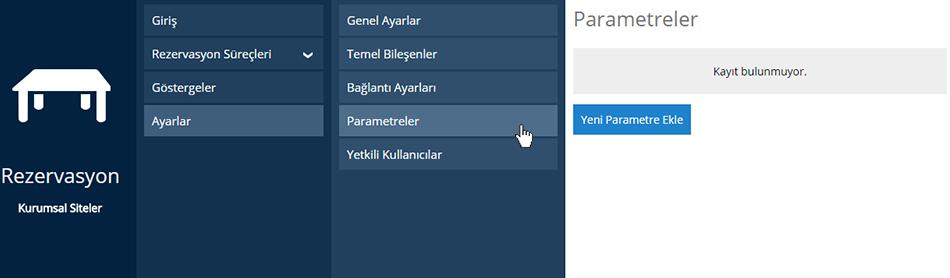 Rezervasyon Parametre Ekleme