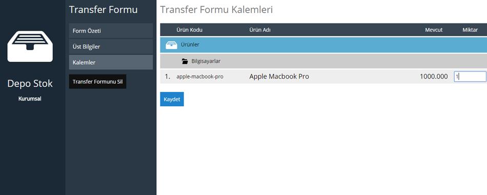 Depo Stok Transfer Formu Kalemleri