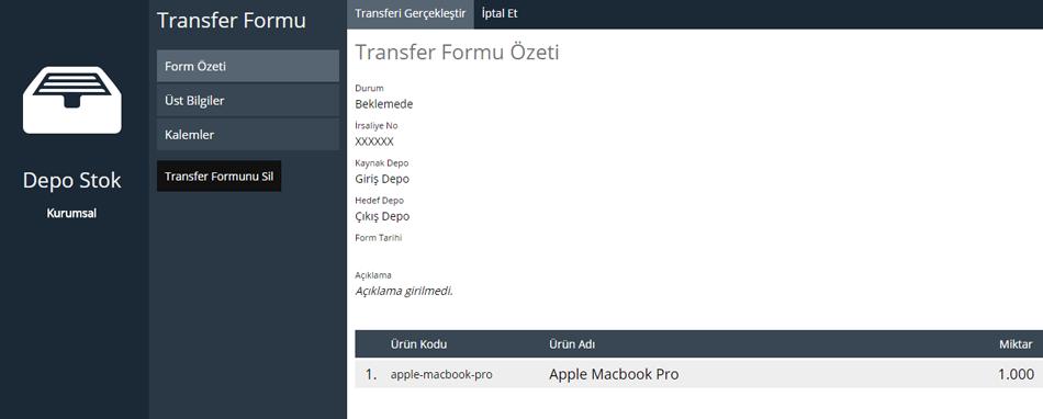 Depo Stok transfer Formu Özeti