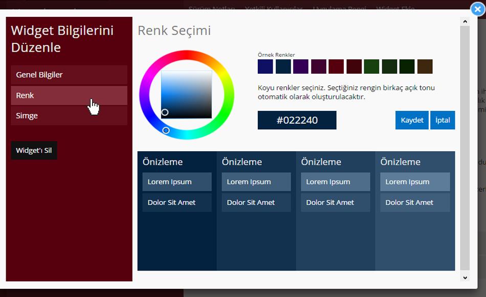 Personel Duyuruları Widget Renk Seçimi