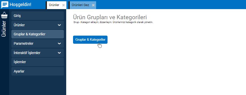 Ürünler Gruplar Kategoriler Açılış Sayfası